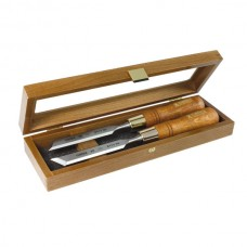 Set of skew chisels in wooden box 6mm