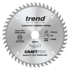The Craft Pro 160mm diameter 20mm bore 48 tooth fine finish cut saw blade for hand held circular saws