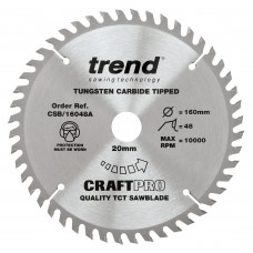 Trend Craft Pro 160mm diameter 20mm bore 48 tooth fine finish cut saw blade for hand held circular saws